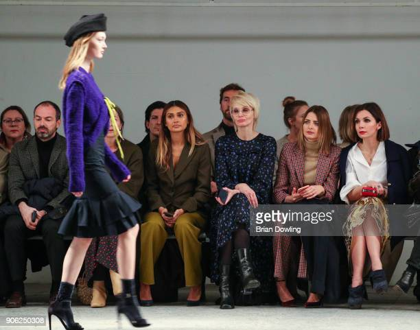 Wana Limar Susann Atwell Eva Padberg and Nadine Warmuch attend Odeeh Defile during 'Der Berliner Salon' AW 18/19 on January 17 2018 in Berlin Germany
