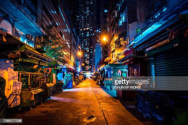 wanchai night street, hong kong - chinese culture stock pictures, royalty-free photos & images