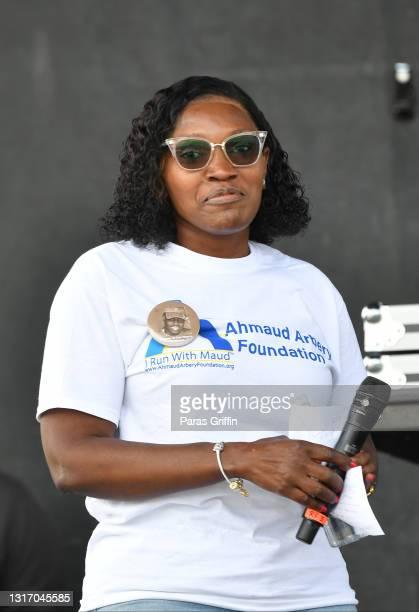 Wanda Cooper-Jones, mother of Ahmaud Arbery onstage during Ahmaud Arbery Foundation Kick Off & Drive Up Birthday Bash at New Birth Missionary Baptist...