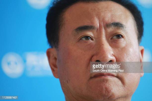 Wanda Group chairman Wang Jianlin speaks to the press after the launching ceremony of Qingdao Oriental Movie Metroplis, China's biggest project in...