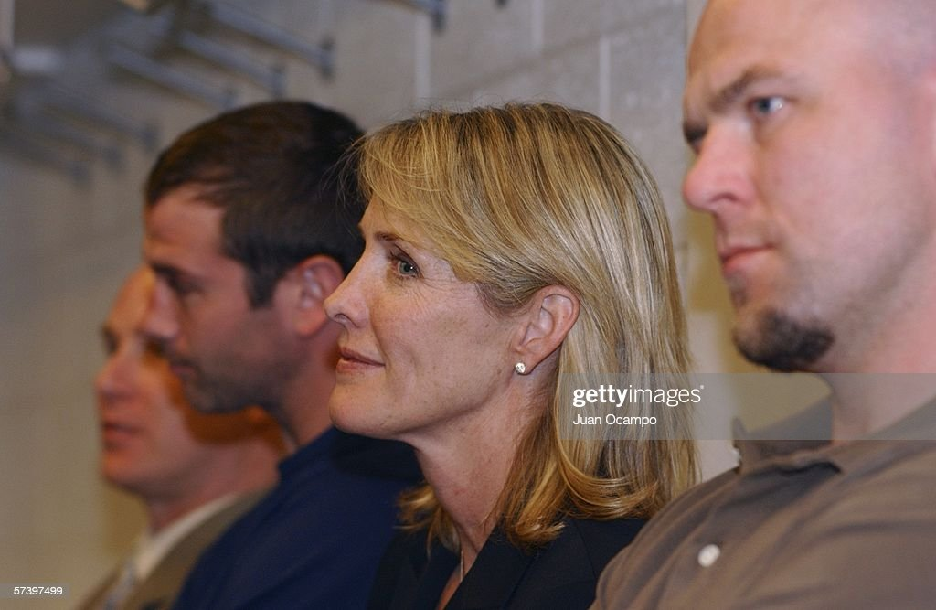 Wanda Lombardi looks on with Los Angeles Kings team captain Mattias Norstrom (R) as her husband Dean Lombardi (not pictured) is named President and General Manager of the Los Angeles Kings during a press conference on April 21, 2006 at the Toyota Sports Center in El Segundo, California.