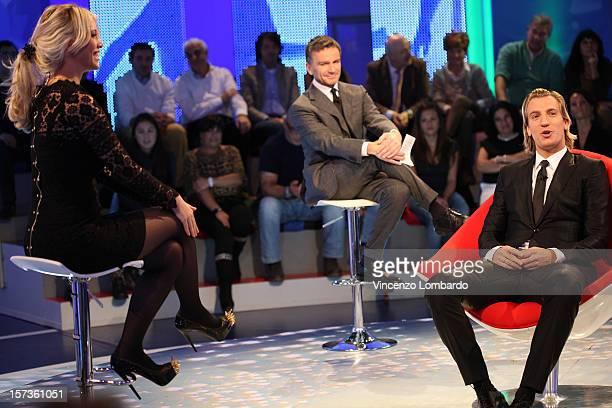 Wanda Nara and Maxi Lopez attends 'Cielo Che Gol' Italian TV Show on December 2 2012 in Milan Italy