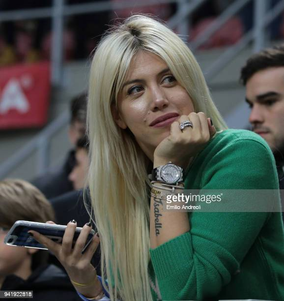 Wanda Nara attends the serie A match between AC Milan and FC Internazionale at Stadio Giuseppe Meazza on April 4 2018 in Milan Italy