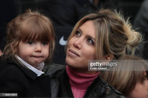 Wanda Nara attends the Serie A match between FC Internazionale and Atalanta BC at Stadio Giuseppe Meazza on April 7 2019 in Milan Italy
