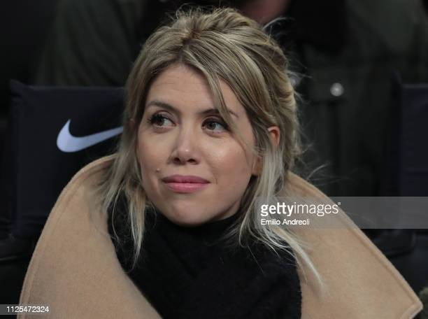 Wanda Nara attends the Serie A match between FC Internazionale and UC Sampdoria at Stadio Giuseppe Meazza on February 17 2019 in Milan Italy