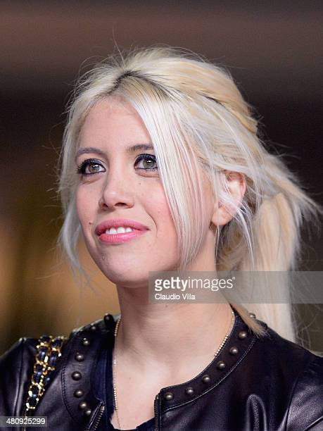 Wanda Nara attends the Serie A match between FC Internazionale Milano and Udinese Calcio at San Siro Stadium on March 27 2014 in Milan Italy