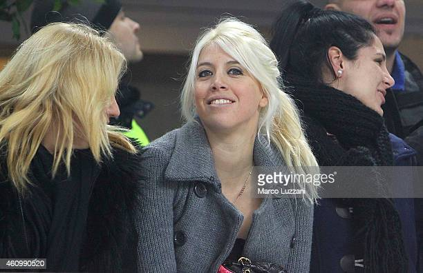 Wanda Nara looks on before the Serie A match betweeen FC Internazionale Milano and SS Lazio at Stadio Giuseppe Meazza on December 21 2014 in Milan...