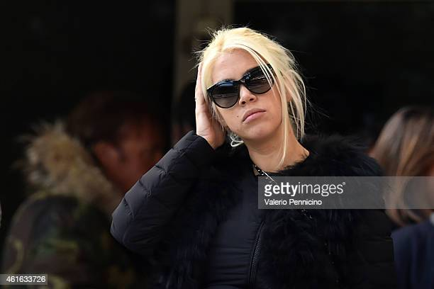 Wanda Nara looks on before the Serie A match between FC Internazionale Milano and Genoa CFC at Stadio Giuseppe Meazza on January 11 2015 in Milan...