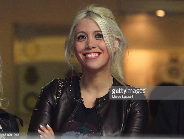 Wanda Nara looks on before the Serie A match between FC Internazionale Milano and Udinese Calcio at San Siro Stadium on March 27 2014 in Milan Italy