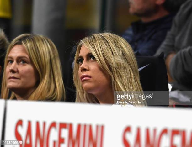 Wanda Nara, wife and football agent of Mauro Icardi attends during the Serie A match between FC Internazionale and AS Roma at Stadio Giuseppe Meazza...