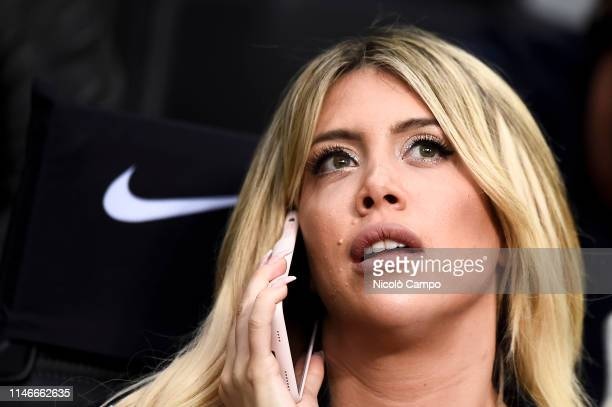 Wanda Nara wife and football agent of Mauro Icardi looks on prior to the Serie A football match between FC Internazionale and Empoli FC FC...