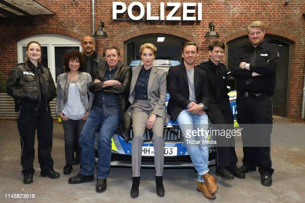 Wanda Perdelwitz Maria Ketikidou Patrick Abozen Jan Fedder Saskia Fischer Peter Fieseler Sven Fricke and Marc Zwinz attend a photocall on the set of...