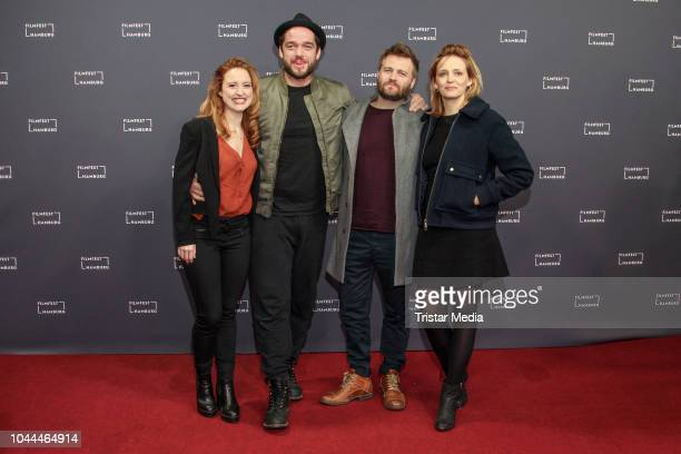 Wanda Perdelwitz Ronald Zehrfeld Max Zaehle and Laura Tonke attend the 'Bist du gluecklich' premiere during the Film Festival on October 01 2018 in...