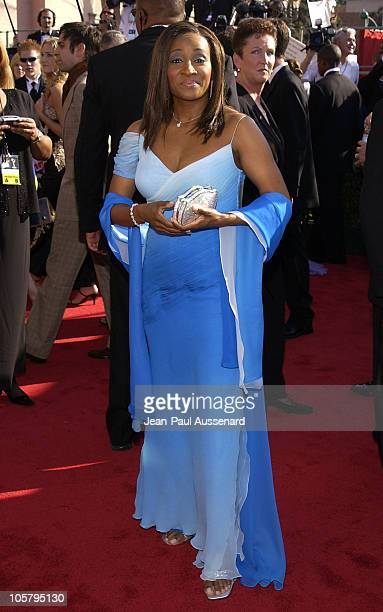 Wanda Sykes with her Kathrine Baumann bag during The 55th Annual Primetime Emmy Awards Arrivals at The Shrine Theater in Los Angeles California...