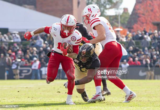 Wan'Dale Robinson of the Nebraska Cornhuskers runs the ball during the game against the Purdue Boilermakers at RossAde Stadium on November 2 2019 in...