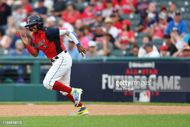Wander Franco of the American League Futures Team runs during the SiriusXM All-Star Futures Game at Progressive Field on Sunday, July 7, 2019 in...