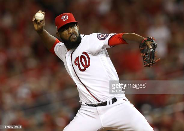 Wander Suero of the Washington Nationals delivers during the sixth inning of Game 3 of the NLDS against the Los Angeles Dodgers at Nationals Park on...