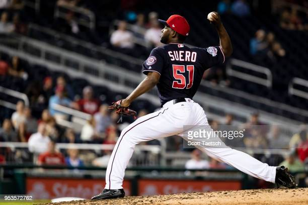 Wander Suero of the Washington Nationals makes his major league debut against the Pittsburgh Pirates during the seventh inning at Nationals Park on...