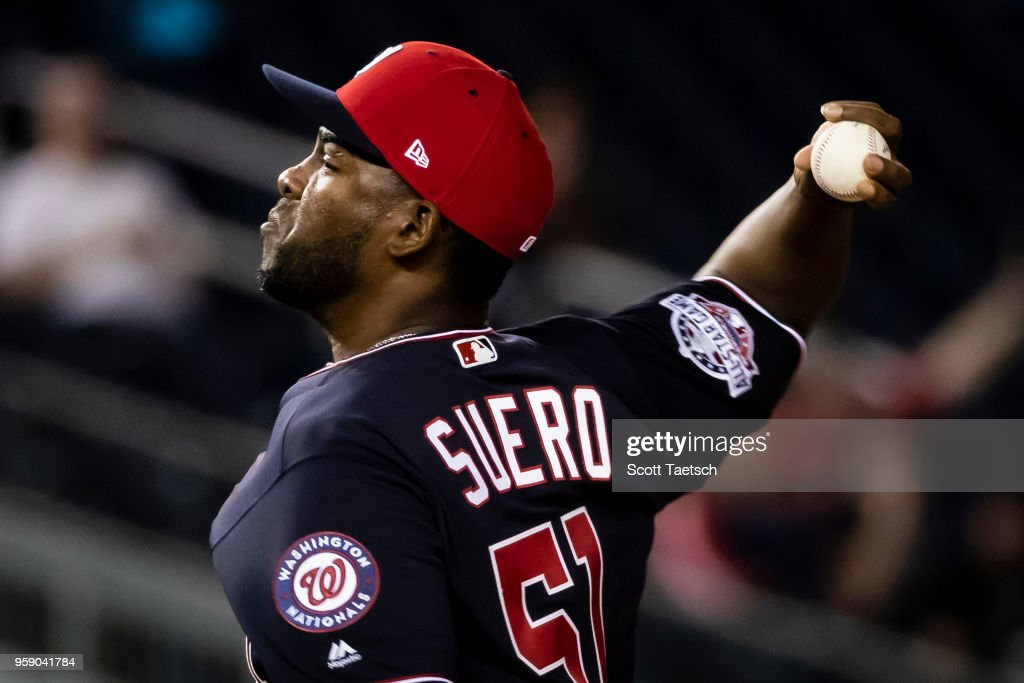 Wander Suero #51 of the Washington Nationals makes his major league debut against the Pittsburgh Pirates during the seventh inning at Nationals Park on May 1, 2018 in Washington, DC.