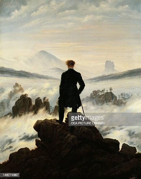 Wanderer above the sea of fog, by Caspar David Friedrich . ; Amburgo, Hamburger Kunsthalle.
