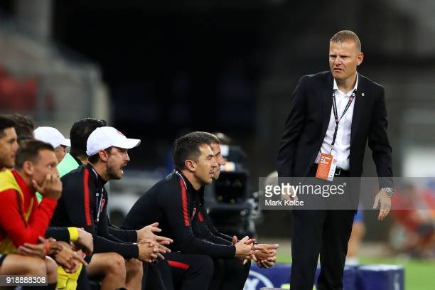 Wanderer head coach Josep Gombau shows his frustration after a goal was disallowed by the VAR during the round 20 ALeague match between the Western...