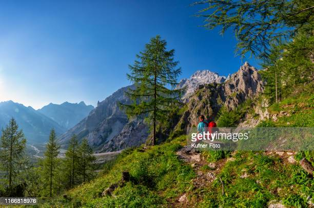 wanderer rests on bench with view to watzmann - bavarian alps stock pictures, royalty-free photos & images