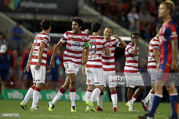 Wanderers celebrate a goal during the round 10 A-League match between the Newcastle Jets and the Western Sydney Wanderers at Hunter Stadium on...