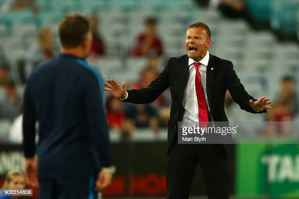 Wanderers coach Josep Gombau reacts during the round 13 ALeague match between the Western Sydney Wanderers and Melbourne City at ANZ Stadium on...