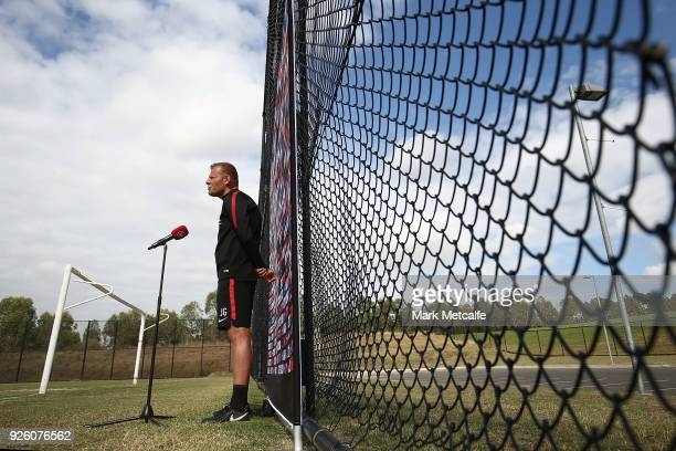 Wanderers coach Josep Gombau speaks to media during a Western Sydney Wanderers ALeague training session at Blacktown International Sportspark on...