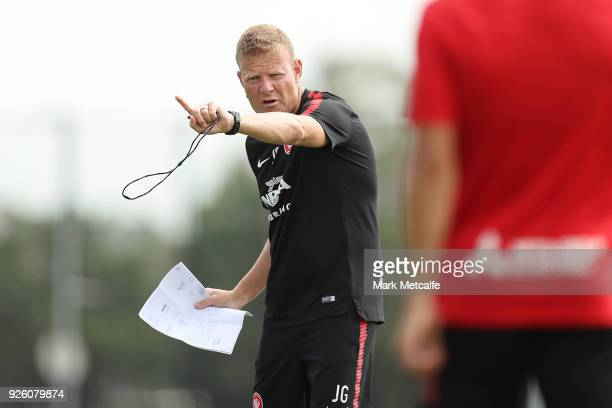 Wanderers coach Josep Gombau talks to players during a Western Sydney Wanderers ALeague training session at Blacktown International Sportspark on...