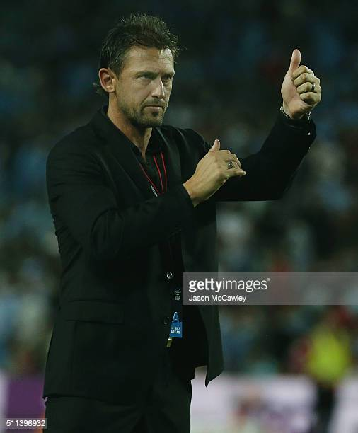 Wanderers coach Tony Popovic acknowledges the crowd after the round 20 ALeague match between Sydney FC and the Western Sydney Wanderers at Allianz...