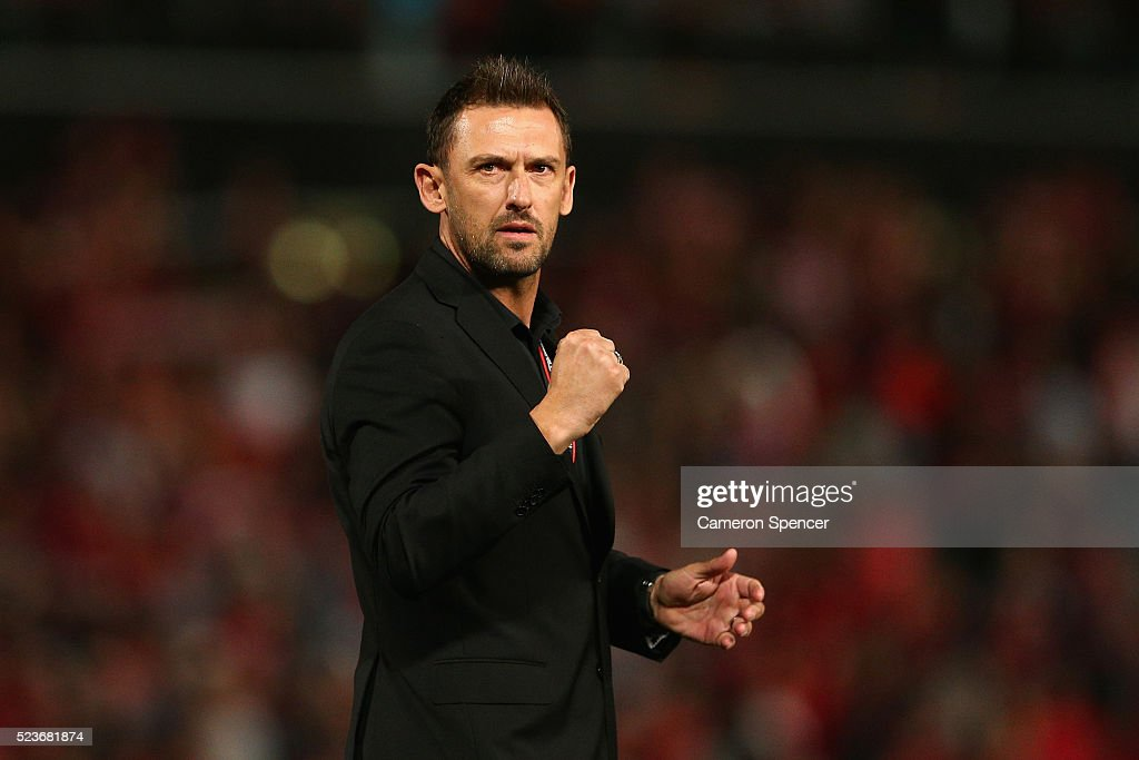 Wanderers coach Tony Popovic celebrates winning the A-League Semi Final match in extra time between the Western Sydney Wanderers and the Brisbane Roar at Pirtek Stadium on April 24, 2016 in Sydney, Australia.
