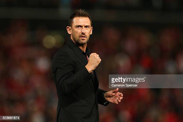 Wanderers coach Tony Popovic celebrates winning the ALeague Semi Final match in extra time between the Western Sydney Wanderers and the Brisbane Roar...