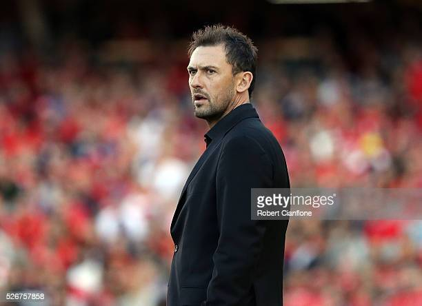 Wanderers coach Tony Popovic looks on during the 2015/16 ALeague Grand Final match between Adelaide United and the Western Sydney Wanderers at...