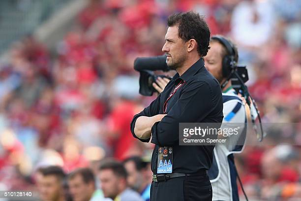 Wanderers coach Tony Popovic looks on during the round 19 ALeague match between the Western Sydney Wanderers and the Wellington Phoenix at Pirtek...