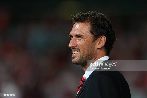 Wanderers coach Tony Popovic looks on prior to the ALeague Semi Final match between the Western Sydney Wanderers and the Brisbane Roar at Parramatta...