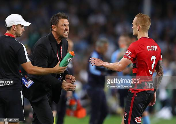 Wanderers coach Tony Popovic shows his emotion during the round 15 ALeague match between Sydney FC and the Western Sydney Wanderers at Allianz...