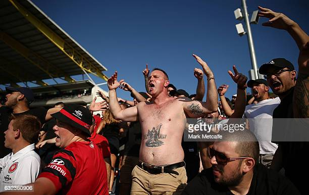 Wanderers fans celebrate a goal during the round 16 ALeague match between the Western Sydney Wanderers and the Newcastle Jets at Campbelltown Sports...
