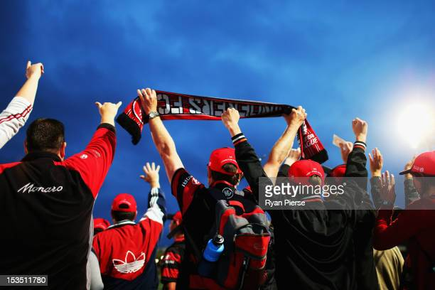 Wanderers fans cheer before the round one ALeague match between the Western Sydney Wanderers FC and the Central Coast Mariners at Parramatta Stadium...