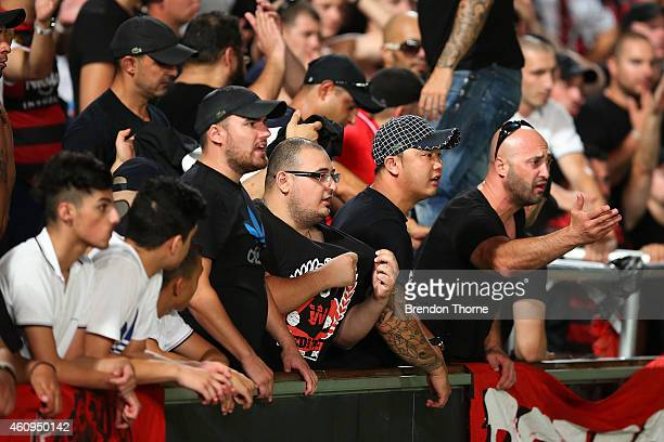Wanderers fans react towards players following their teams draw with the Mariners following the round 14 ALeague match between the Western Sydney...
