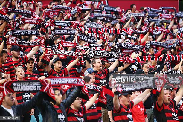 Wanderers fans sing and support before the start of play during the round 10 ALeague match between the Western Sydney Wanderers and Melbourne Victory...