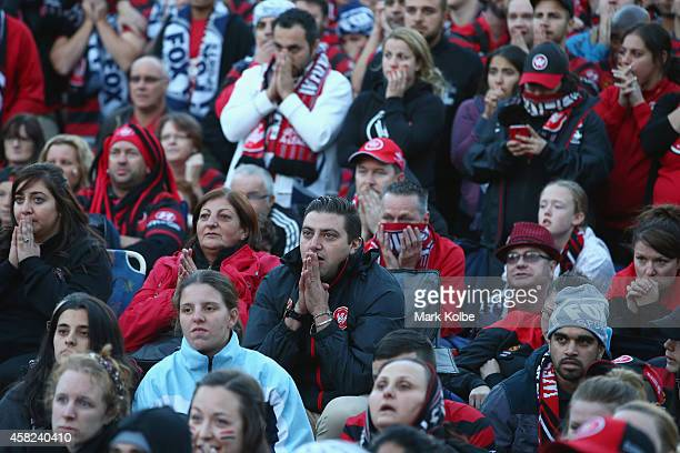 Wanderers fans watch the Asian Champions League final match between Western Sydney Wanders and Al Hilal at a live site in Centenary Square in...