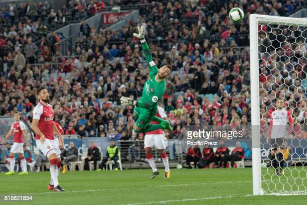 Wanderers goal keeper Vedran Janjetovic saves a goal by deflecting the ball away FA Cup Champions Arsenal wins 31 over Western Sydney Wanderers FC at...