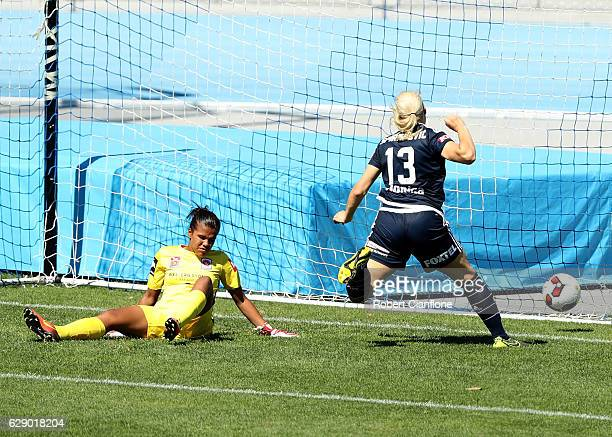 Wanderers goalkeeper Jada MathyssenWhyman fails to hold the ball and concedes an own goal during the round six WLeague match between Melbourne...