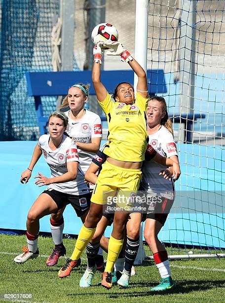 Wanderers goalkeeper Jada MathyssenWhyman fails to hold the ball during the round six WLeague match between Melbourne Victory and Western Sydney...