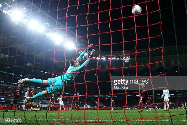 Wanderers goalkeeper Nicholas Suman dives for a missed shot on goal during the match between the Western Sydney Wanderers and Leeds United at...