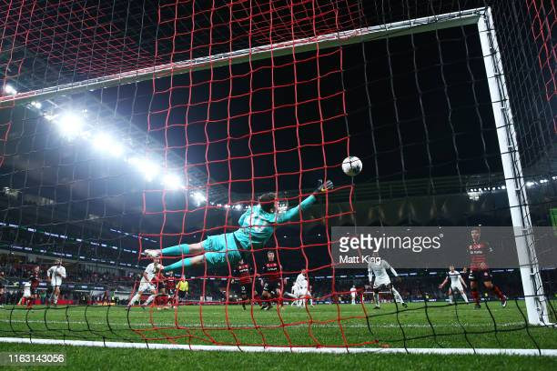Wanderers goalkeeper Nicholas Suman misses the final goal by Pablo Hernandez of Leeds United during the match between the Western Sydney Wanderers...
