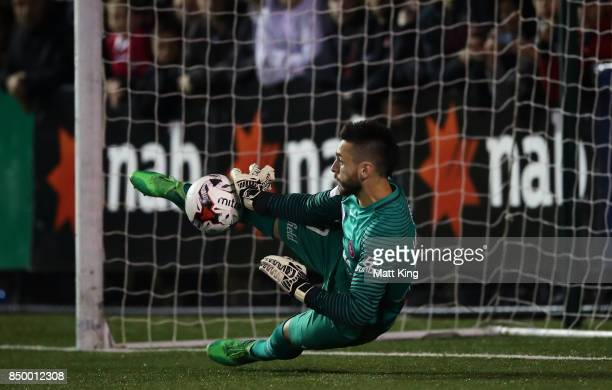Wanderers goalkeeper Vedran Janjetovic makes a save in the penalty shoot out during the FFA Cup Quarterfinal match between Blacktown City and the...