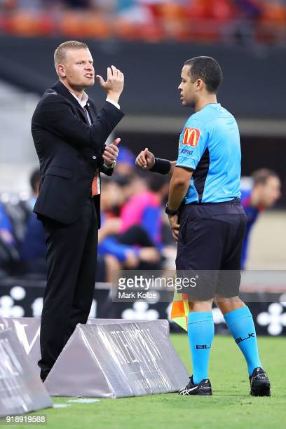 Wanderers head coach Josep Gombau makes his point to the assistant referee after a goal was scored but later was disallowed by the VAR during the...