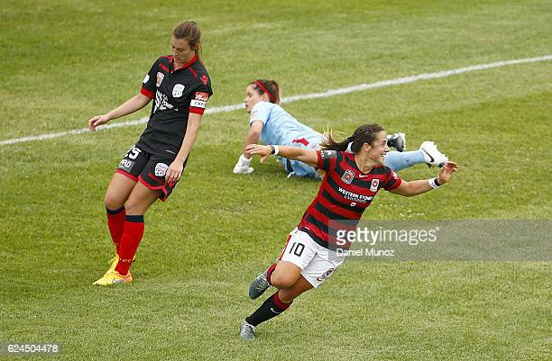 Wanderers Paige Nielsen celebrates after scoring a goal during the round three WLeague match between the Western Sydney Wanderers and Adelaide United...